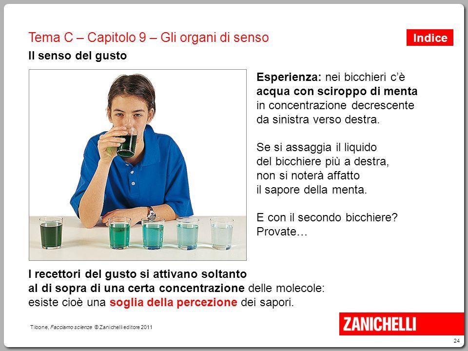 24 Tibone, Facciamo scienze © Zanichelli editore 2011 Tema C – Capitolo 9 – Gli organi di senso Il senso del gusto Esperienza: nei bicchieri c'è acqua