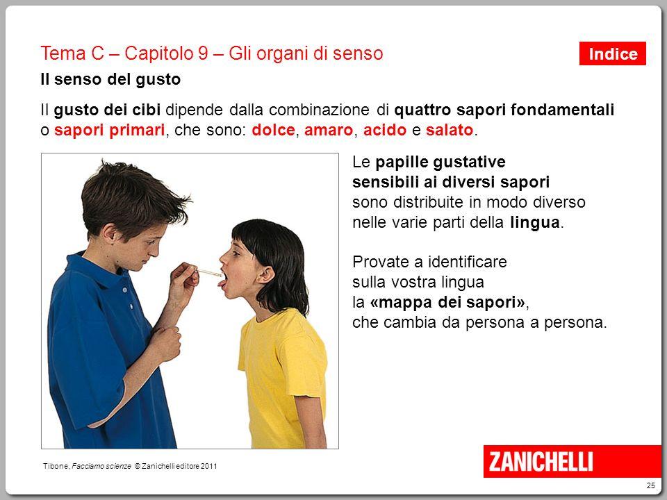 25 Tibone, Facciamo scienze © Zanichelli editore 2011 Tema C – Capitolo 9 – Gli organi di senso Il senso del gusto Il gusto dei cibi dipende dalla com