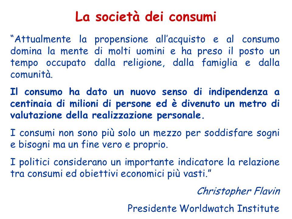 Il consumo è essenziale per il benessere dell'uomo ma un consumo eccessivo o sbagliato può mettere a repentaglio sia la salute dell'uomo sia quella dell'ambiente naturale da cui dipendiamo MALATTIE DEL CONSUMISMO CONSUMIINDICATORI DI SALUTE Tabagismo, obesità, suicidi, ecc.