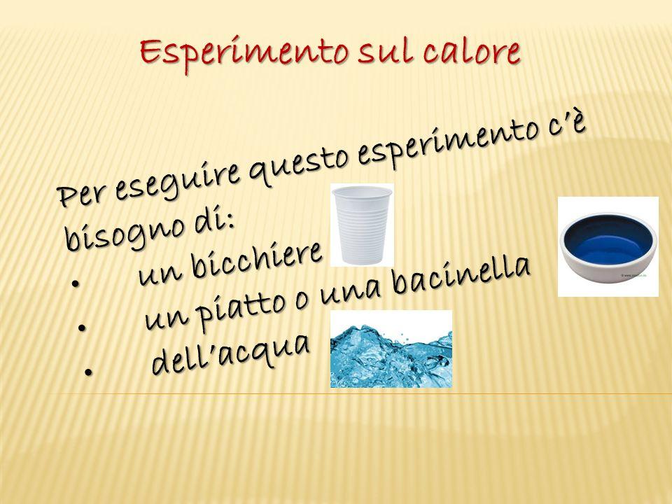 Esperimento sul calore Per eseguire questo esperimento c'è bisogno di: un bicchiereun bicchiere un piatto o una bacinellaun piatto o una bacinella dell'acquadell'acqua