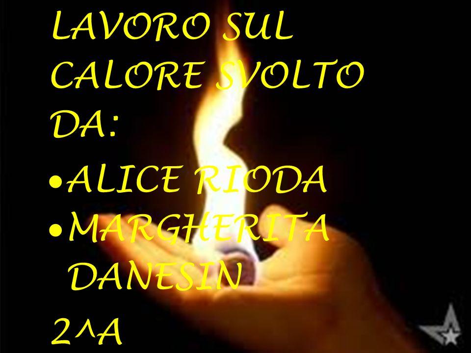 LAVORO SUL CALORE SVOLTO DA:  ALICE RIODA  MARGHERITA DANESIN 2^A