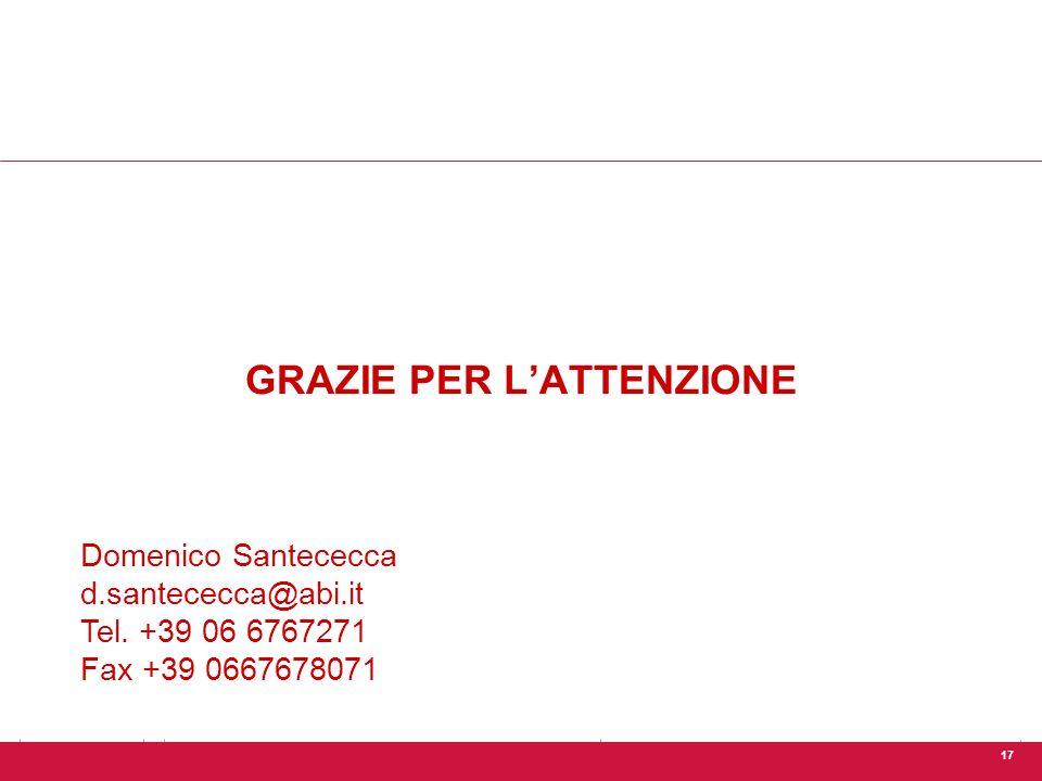 17 GRAZIE PER L'ATTENZIONE Domenico Santececca d.santececca@abi.it Tel.