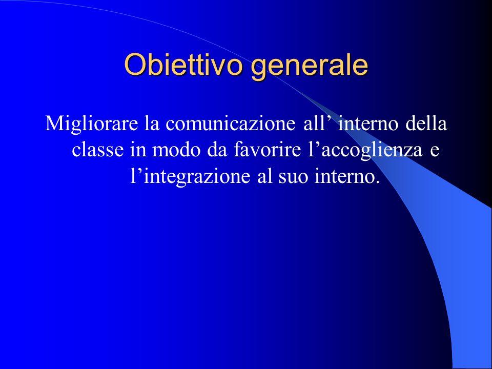 Obiettivo generale Migliorare la comunicazione all' interno della classe in modo da favorire l'accoglienza e l'integrazione al suo interno.