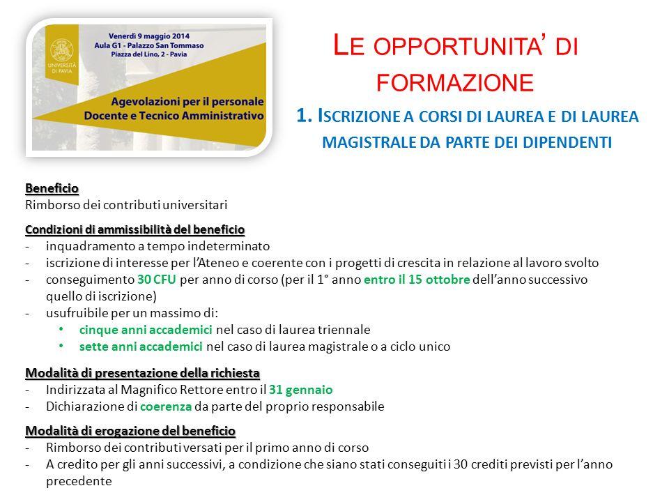 L E OPPORTUNITA ' DI FORMAZIONE 1.