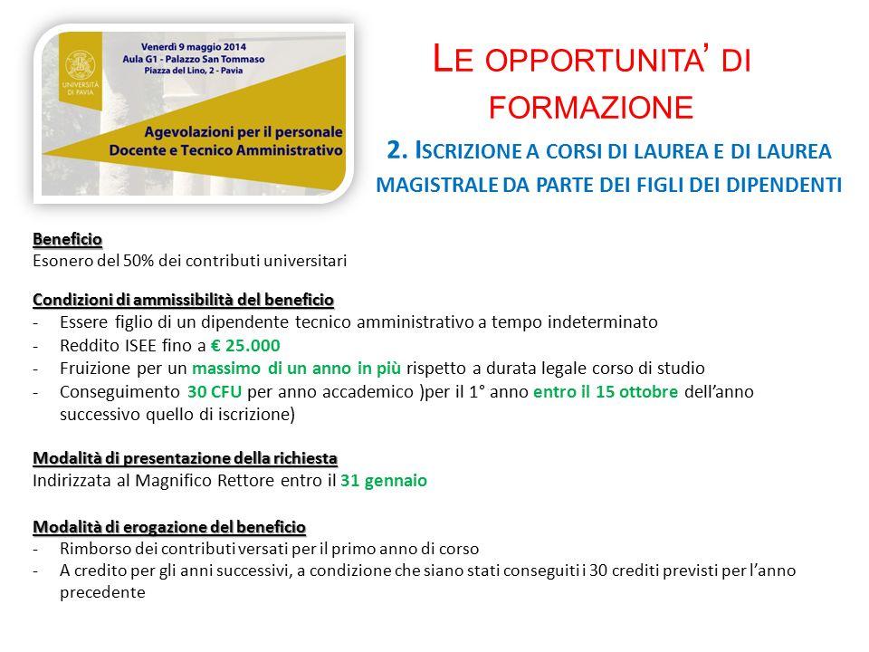 L E OPPORTUNITA ' DI FORMAZIONE 2.