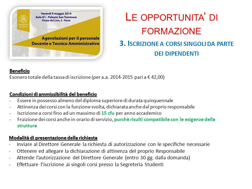 L E OPPORTUNITA ' DI FORMAZIONE 3.