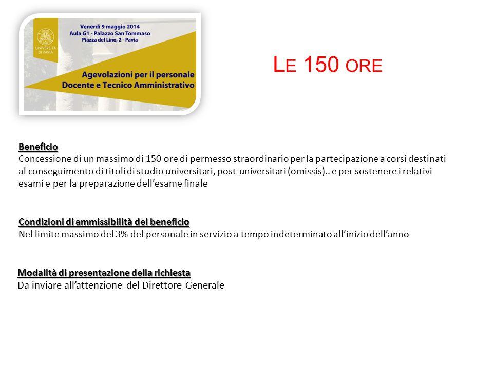 L E 150 ORE Beneficio Concessione di un massimo di 150 ore di permesso straordinario per la partecipazione a corsi destinati al conseguimento di titoli di studio universitari, post-universitari (omissis)..