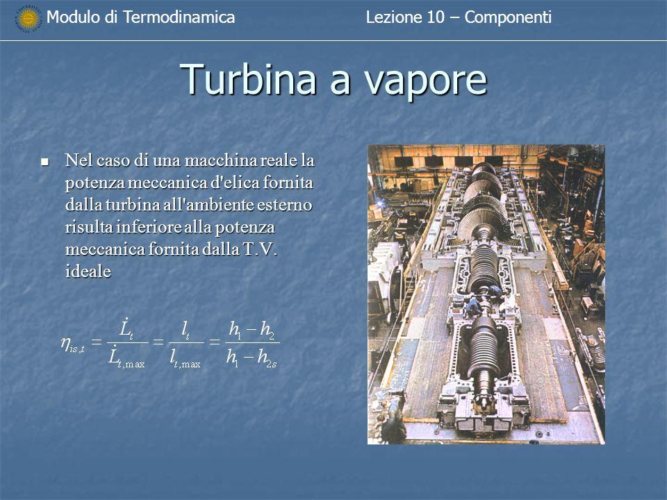 Modulo di TermodinamicaLezione 10 – Componenti Turbina a vapore Nel caso di una macchina reale la potenza meccanica d elica fornita dalla turbina all ambiente esterno risulta inferiore alla potenza meccanica fornita dalla T.V.
