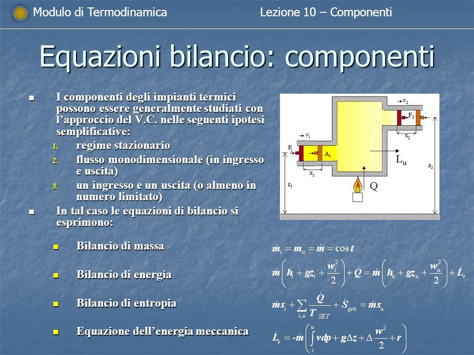 Modulo di TermodinamicaLezione 10 – Componenti Equazioni bilancio: componenti I componenti degli impianti termici possono essere generalmente studiati con l'approccio del V.C.