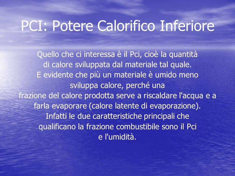 PCI: Potere Calorifico Inferiore Quello che ci interessa è il Pci, cioè la quantità di calore sviluppata dal materiale tal quale.