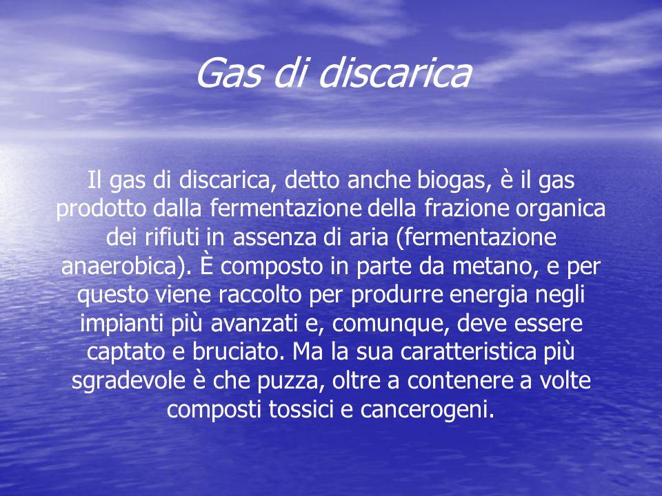 Gas di discarica Il gas di discarica, detto anche biogas, è il gas prodotto dalla fermentazione della frazione organica dei rifiuti in assenza di aria (fermentazione anaerobica).