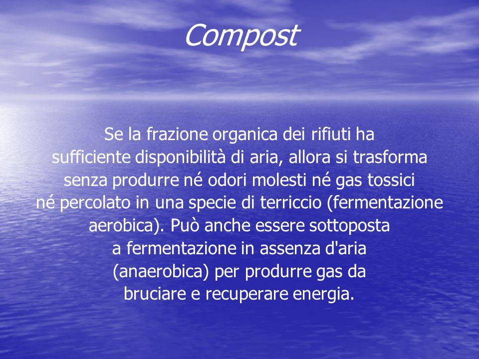 Compost Se la frazione organica dei rifiuti ha sufficiente disponibilità di aria, allora si trasforma senza produrre né odori molesti né gas tossici né percolato in una specie di terriccio (fermentazione aerobica).