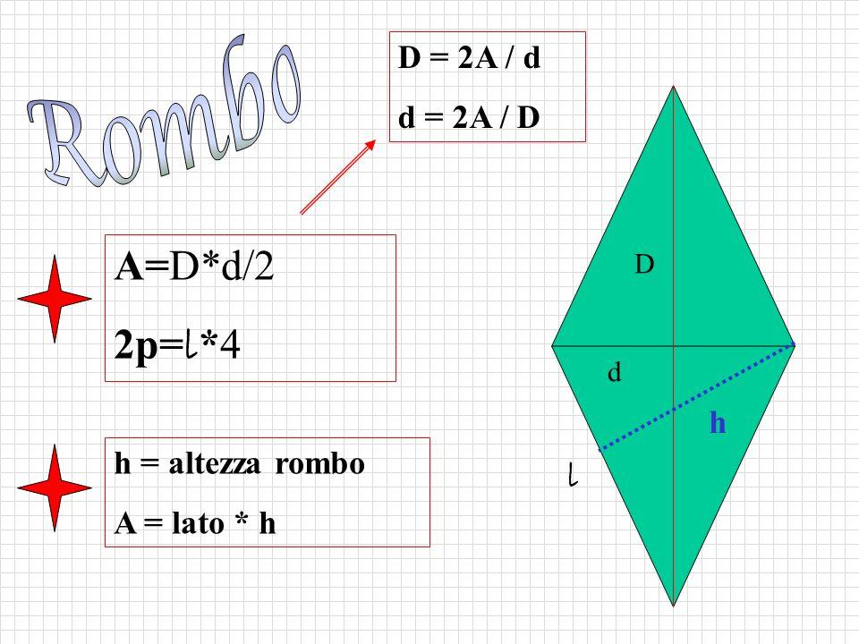 A=D*d/2 2p= l *4 l d D h = altezza rombo A = lato * h h D = 2A / d d = 2A / D