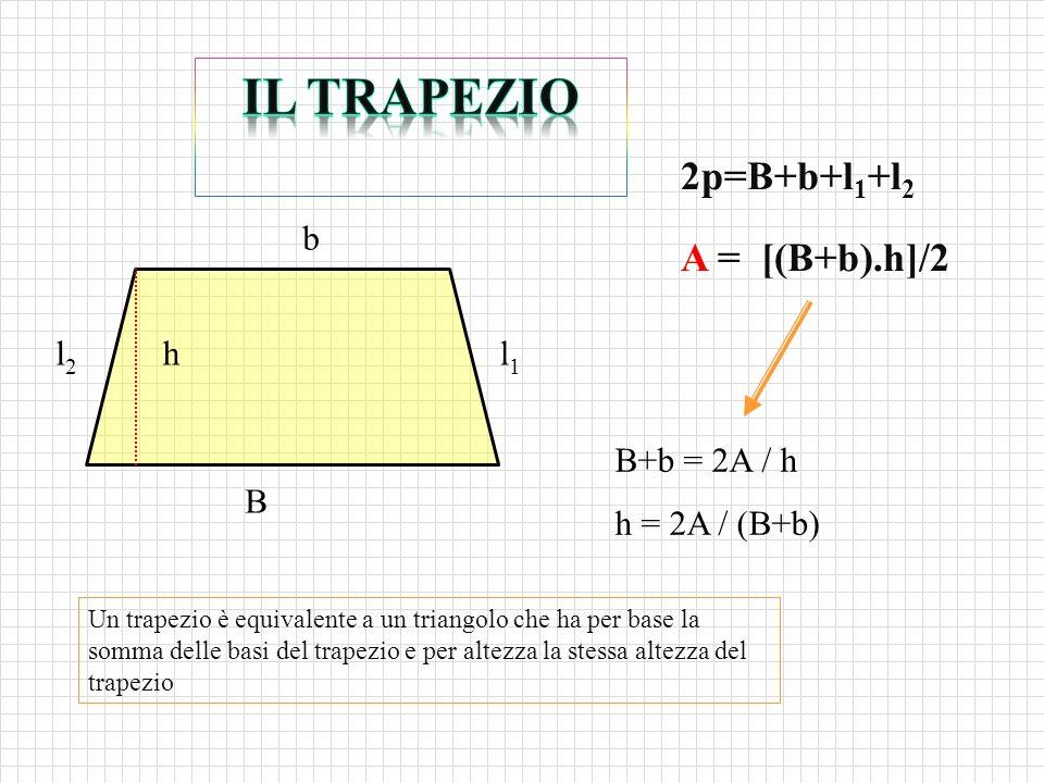 2p=B+b+l 1 +l 2 A = [(B+b).h]/2 Un trapezio è equivalente a un triangolo che ha per base la somma delle basi del trapezio e per altezza la stessa altezza del trapezio B+b = 2A / h h = 2A / (B+b) B b hl1l1 l2l2