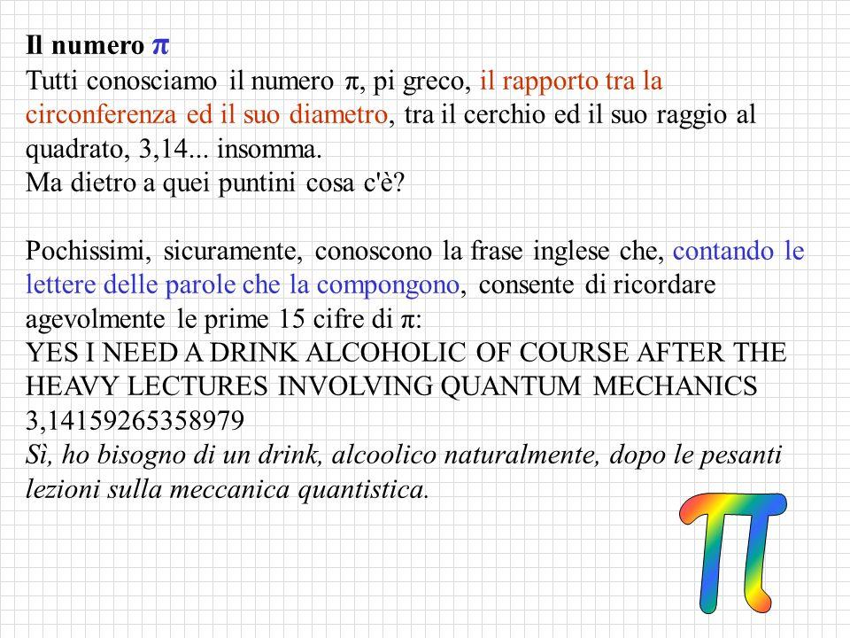 Il numero π Tutti conosciamo il numero π, pi greco, il rapporto tra la circonferenza ed il suo diametro, tra il cerchio ed il suo raggio al quadrato, 3,14...