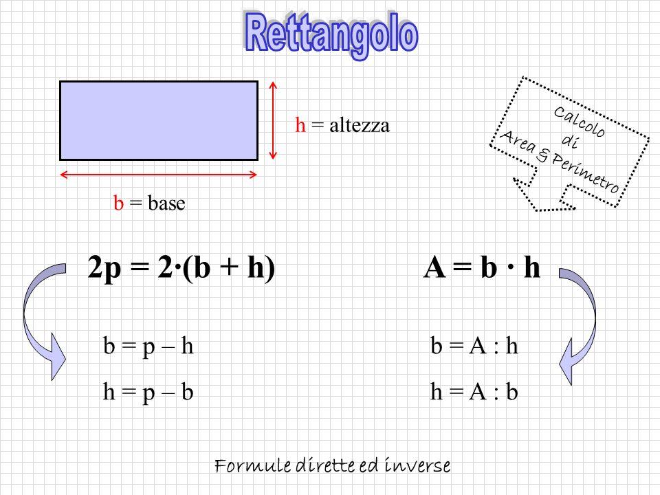 b = base h = altezza 2p = 2·(b + h) A = b · h Calcolo di Area & Perimetro b = A : h h = A : b b = p – h h = p – b Formule dirette ed inverse