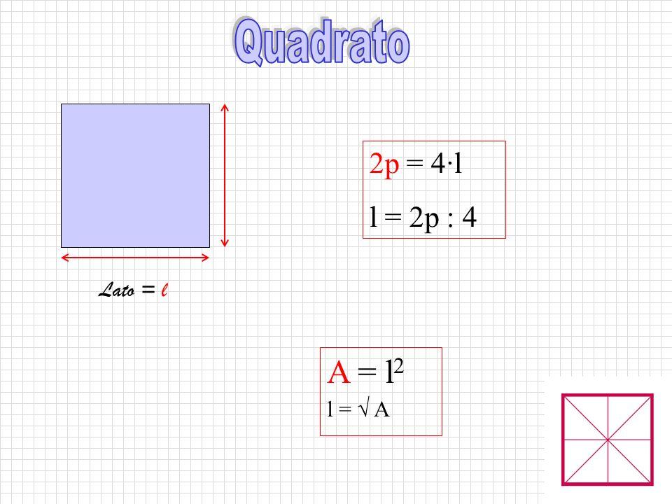 Lato = l 2p = 4·l l = 2p : 4 A = l 2 l = √ A