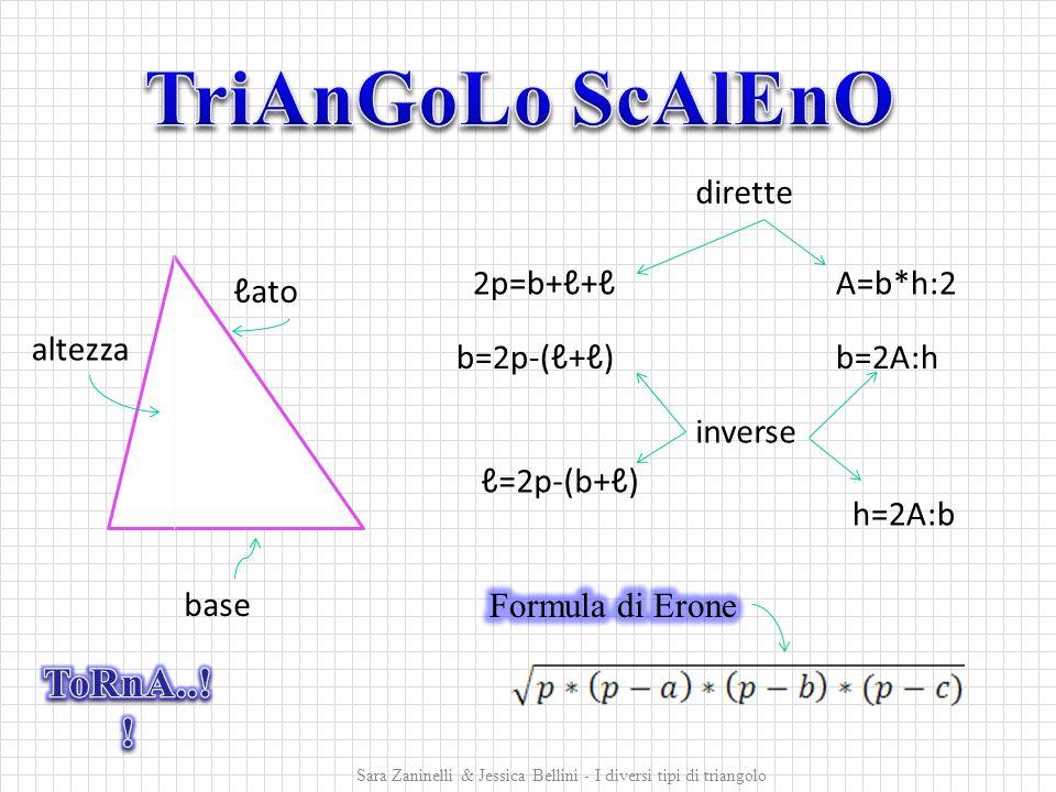 2p=b+ℓ+ℓ b=2p-(ℓ+ℓ) ℓ=2p-(b+ℓ) A=b*h:2 b=2A:h h=2A:b ℓato base altezza dirette inverse Sara Zaninelli & Jessica Bellini - I diversi tipi di triangolo