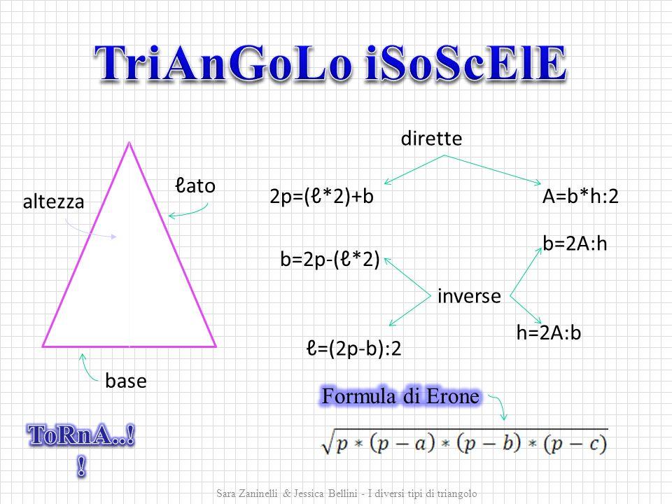2p=(ℓ*2)+b b=2p-(ℓ*2) ℓ=(2p-b):2 A=b*h:2 b=2A:h h=2A:b ℓato altezza base dirette inverse Sara Zaninelli & Jessica Bellini - I diversi tipi di triangolo
