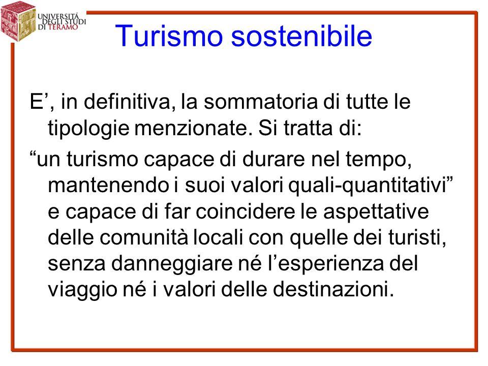 Turismo sostenibile E', in definitiva, la sommatoria di tutte le tipologie menzionate.