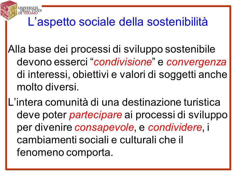 L'aspetto sociale della sostenibilità Alla base dei processi di sviluppo sostenibile devono esserci condivisione e convergenza di interessi, obiettivi e valori di soggetti anche molto diversi.