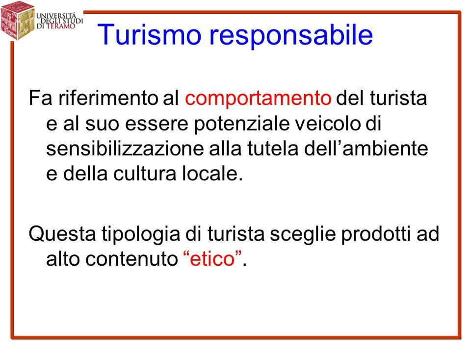 Turismo responsabile Fa riferimento al comportamento del turista e al suo essere potenziale veicolo di sensibilizzazione alla tutela dell'ambiente e della cultura locale.