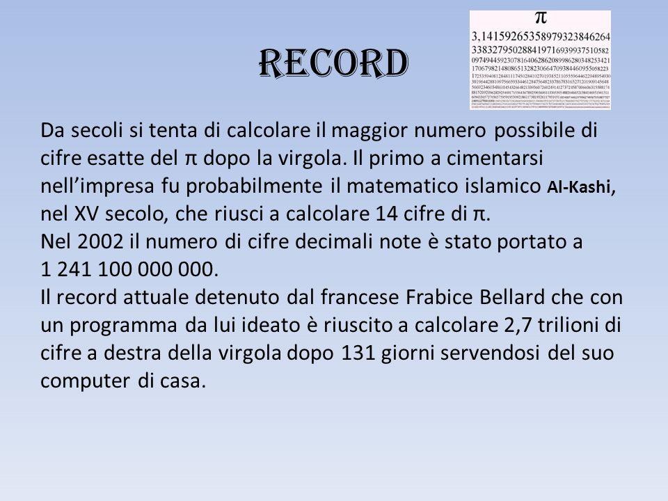 RECORD Da secoli si tenta di calcolare il maggior numero possibile di cifre esatte del π dopo la virgola.
