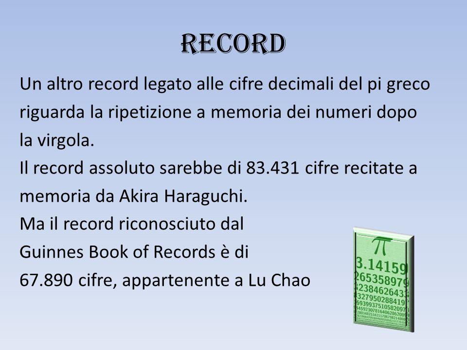 RECORD Un altro record legato alle cifre decimali del pi greco riguarda la ripetizione a memoria dei numeri dopo la virgola.