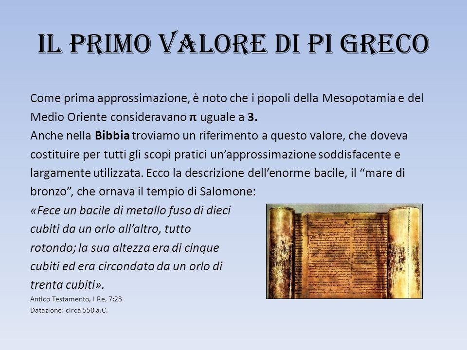 Il primo valore di PI GRECO Come prima approssimazione, è noto che i popoli della Mesopotamia e del Medio Oriente consideravano π uguale a 3.