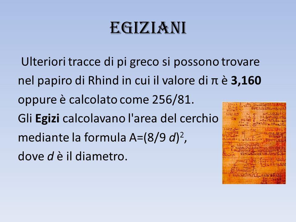 EGIZIANI Ulteriori tracce di pi greco si possono trovare nel papiro di Rhind in cui il valore di π è 3,160 oppure è calcolato come 256/81.
