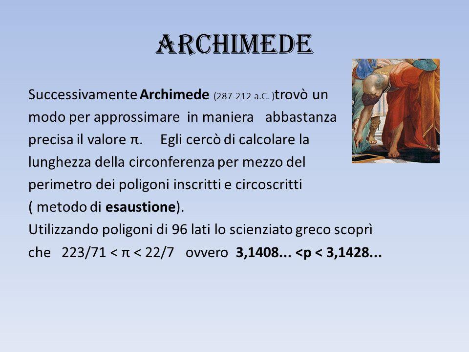 Archimede Successivamente Archimede (287-212 a.C.