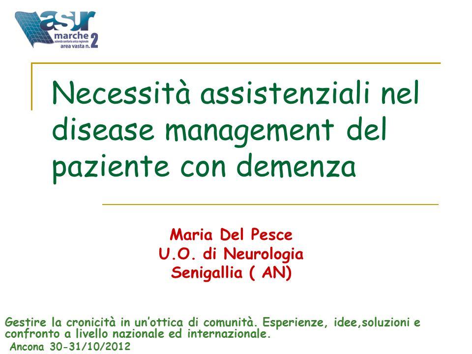Necessità assistenziali nel disease management del paziente con demenza Maria Del Pesce U.O.