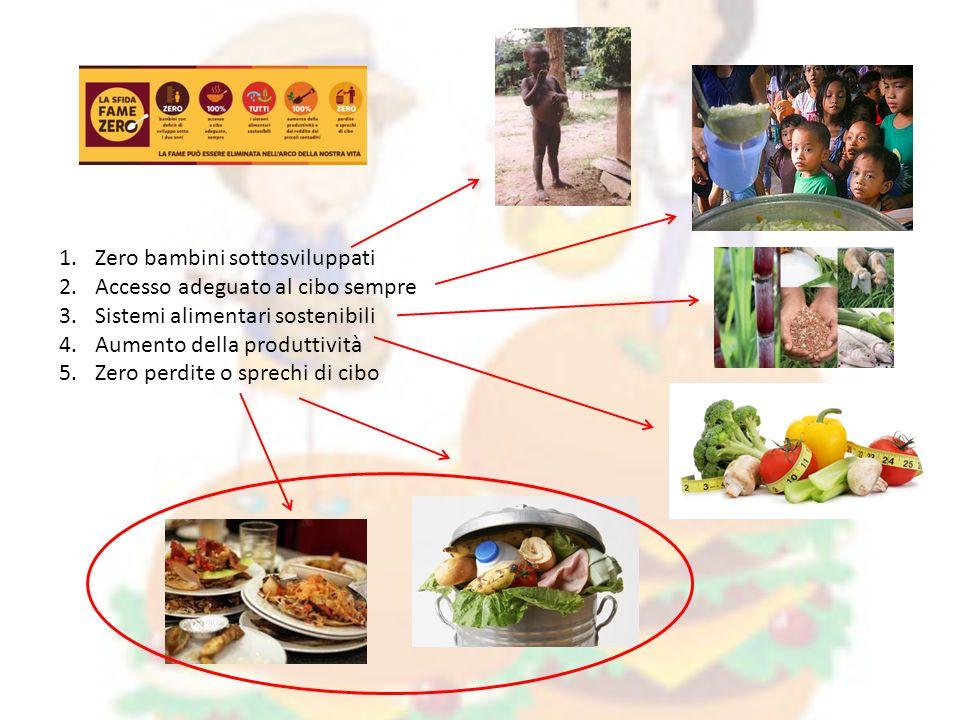 1.Zero bambini sottosviluppati 2.Accesso adeguato al cibo sempre 3.Sistemi alimentari sostenibili 4.Aumento della produttività 5.Zero perdite o sprechi di cibo