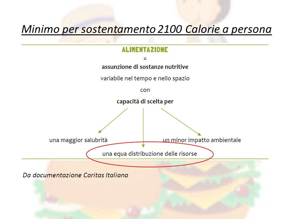 Da documentazione Caritas Italiana Minimo per sostentamento 2100 Calorie a persona