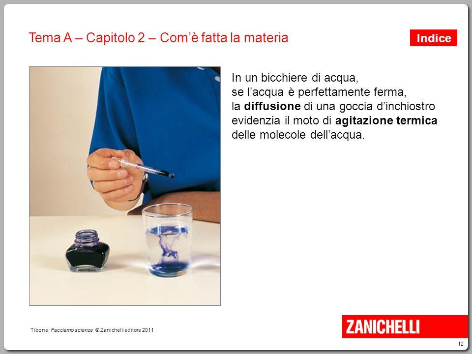 12 Tibone, Facciamo scienze © Zanichelli editore 2011 Tema A – Capitolo 2 – Com'è fatta la materia In un bicchiere di acqua, se l'acqua è perfettament