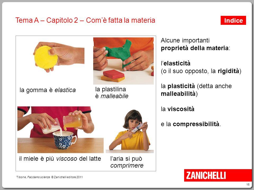 15 Tibone, Facciamo scienze © Zanichelli editore 2011 Tema A – Capitolo 2 – Com'è fatta la materia Alcune importanti proprietà della materia: l'elasti