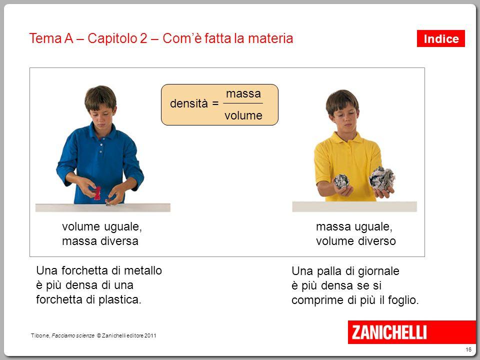 16 Tibone, Facciamo scienze © Zanichelli editore 2011 Tema A – Capitolo 2 – Com'è fatta la materia Una forchetta di metallo è più densa di una forchet