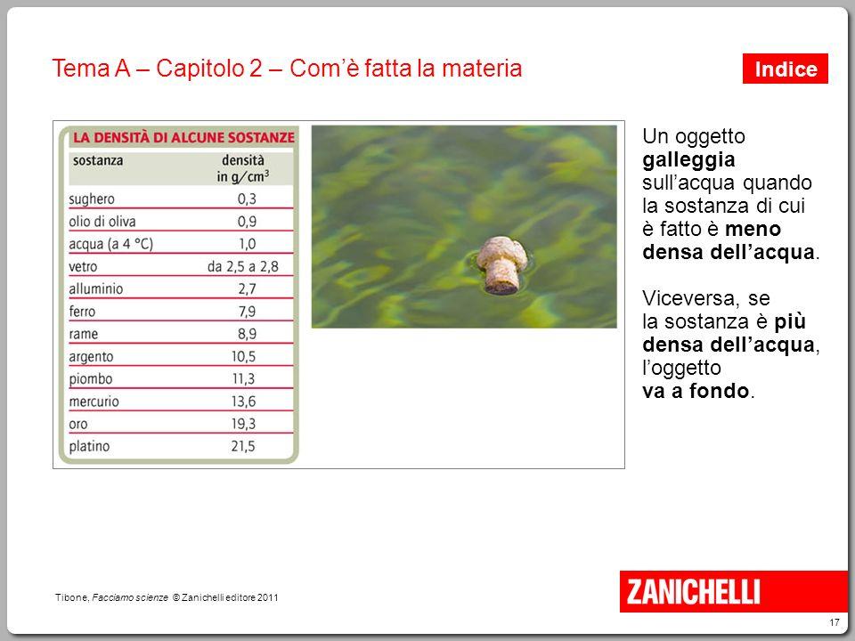 17 Tibone, Facciamo scienze © Zanichelli editore 2011 Tema A – Capitolo 2 – Com'è fatta la materia Un oggetto galleggia sull'acqua quando la sostanza