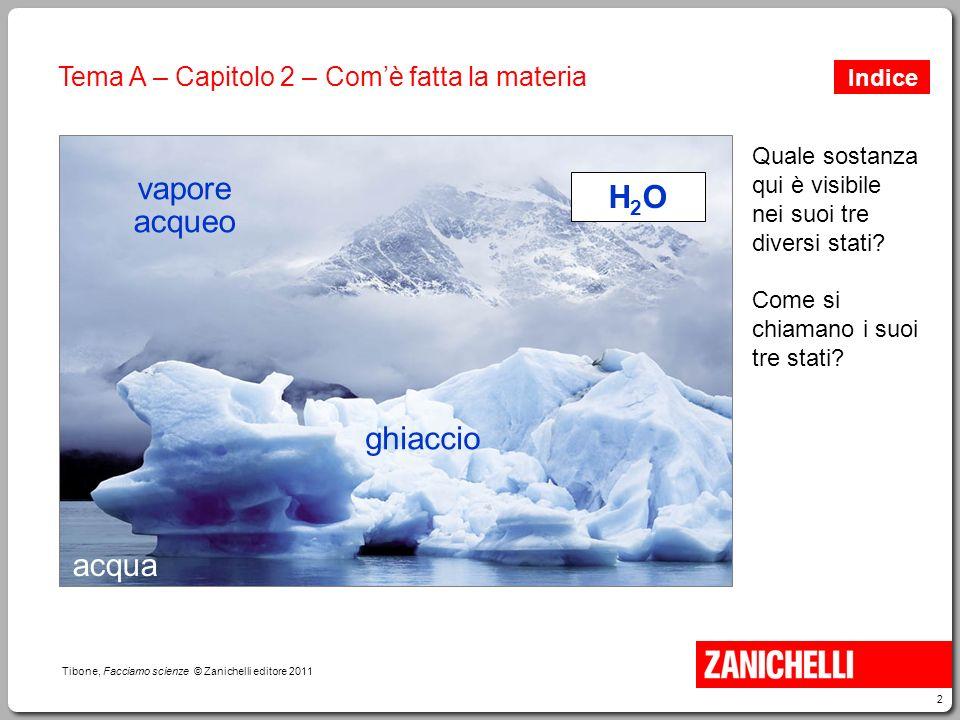 13 Tibone, Facciamo scienze © Zanichelli editore 2011 Tema A – Capitolo 2 – Com'è fatta la materia solidi liquidi aeriforme I tre stati di aggregazione della materia.
