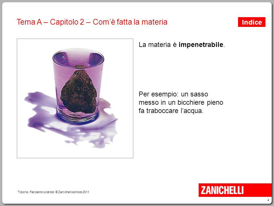 5 Tibone, Facciamo scienze © Zanichelli editore 2011 Tema A – Capitolo 2 – Com'è fatta la materia In una bottiglia può entrare acqua soltanto se dalla bottiglia esce aria.