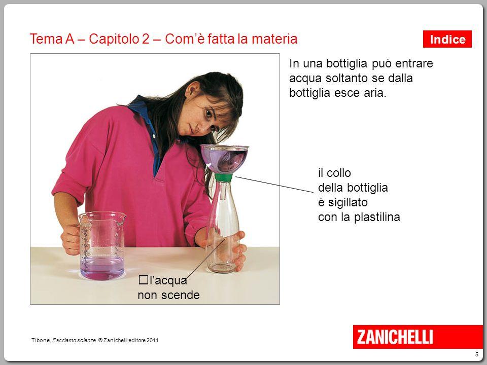 5 Tibone, Facciamo scienze © Zanichelli editore 2011 Tema A – Capitolo 2 – Com'è fatta la materia In una bottiglia può entrare acqua soltanto se dalla