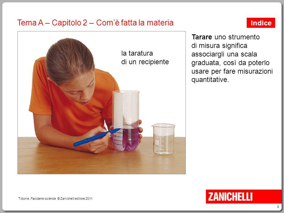 9 Tibone, Facciamo scienze © Zanichelli editore 2011 Tema A – Capitolo 2 – Com'è fatta la materia Con un recipiente tarato si può misurare il volume di un oggetto di forma qualsiasi.