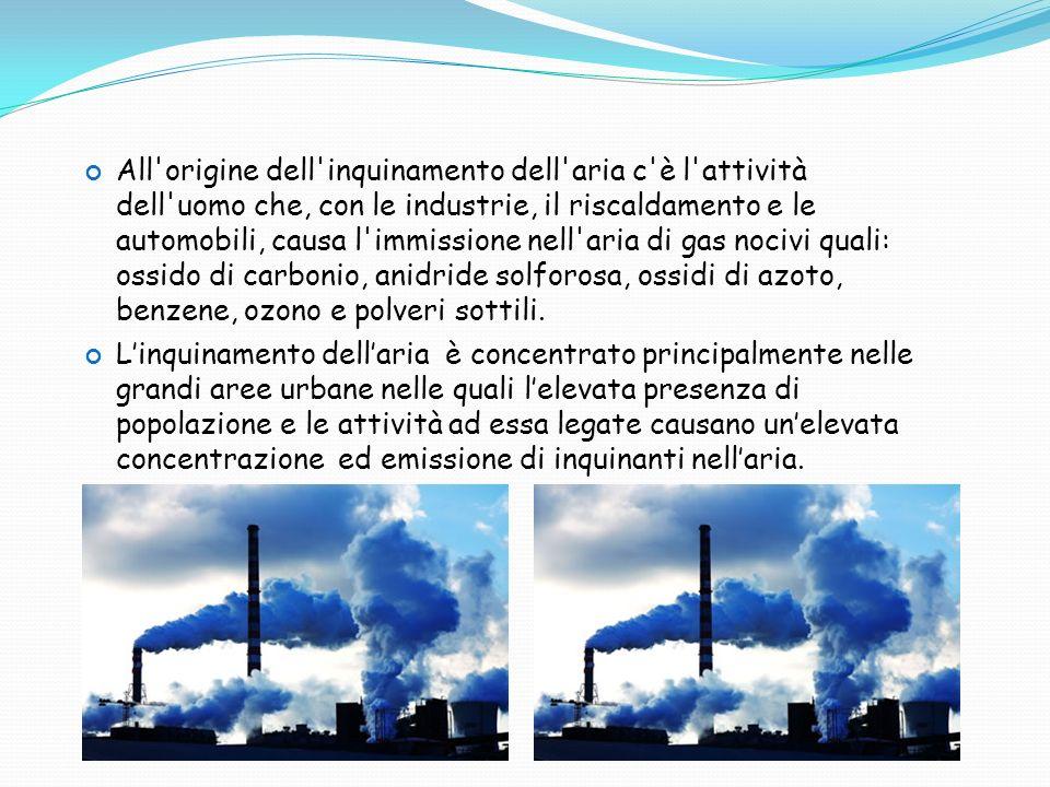 All origine dell inquinamento dell aria c è l attività dell uomo che, con le industrie, il riscaldamento e le automobili, causa l immissione nell aria di gas nocivi quali: ossido di carbonio, anidride solforosa, ossidi di azoto, benzene, ozono e polveri sottili.