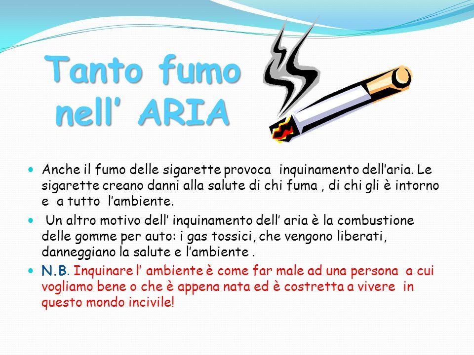 Anche il fumo delle sigarette provoca inquinamento dell'aria.