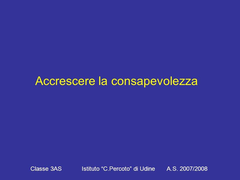 Accrescere la consapevolezza Classe 3AS Istituto C.Percoto di Udine A.S. 2007/2008