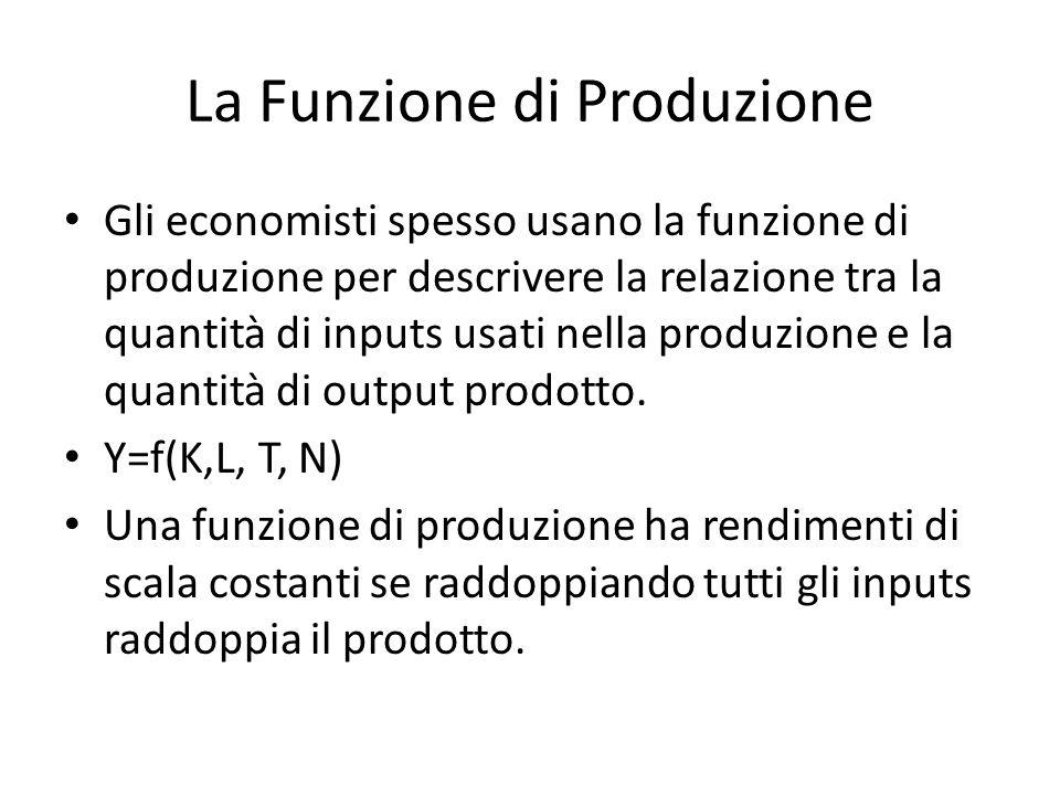 La Funzione di Produzione Gli economisti spesso usano la funzione di produzione per descrivere la relazione tra la quantità di inputs usati nella produzione e la quantità di output prodotto.