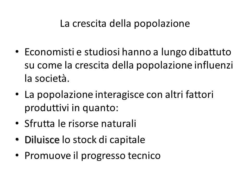 La crescita della popolazione Economisti e studiosi hanno a lungo dibattuto su come la crescita della popolazione influenzi la società.