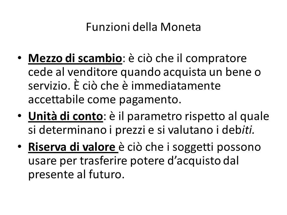 Funzioni della Moneta Mezzo di scambio: è ciò che il compratore cede al venditore quando acquista un bene o servizio.