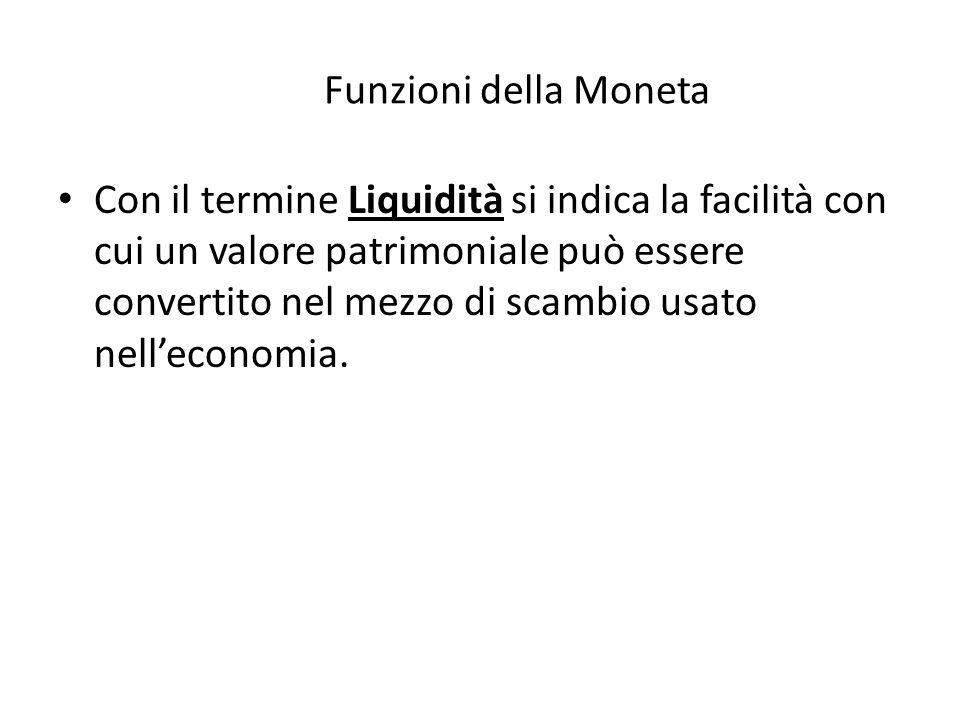 The Funzioni della Moneta Con il termine Liquidità si indica la facilità con cui un valore patrimoniale può essere convertito nel mezzo di scambio usato nell'economia.