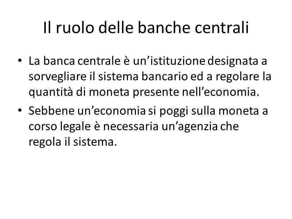 Il ruolo delle banche centrali La banca centrale è un'istituzione designata a sorvegliare il sistema bancario ed a regolare la quantità di moneta presente nell'economia.